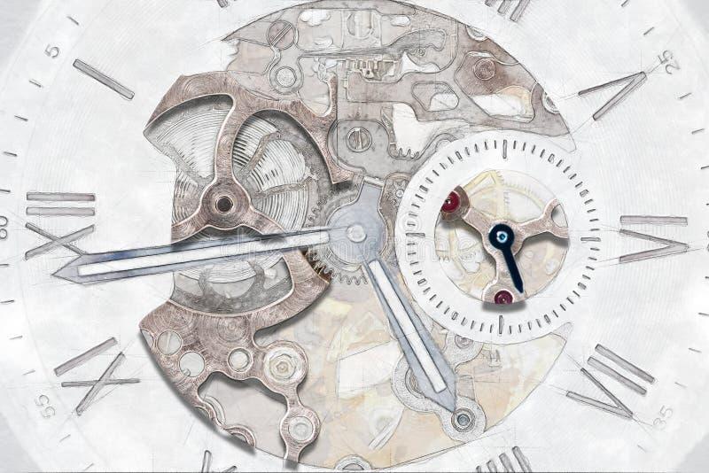 Mekaniskt klockabegrepp med den synliga mekanismen royaltyfri fotografi