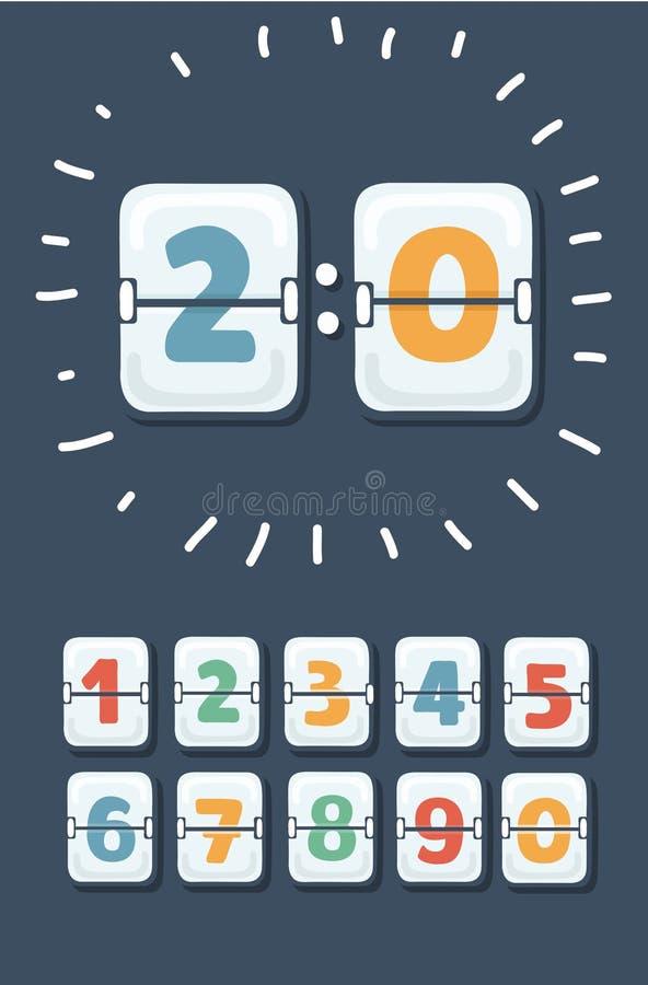 mekaniskt nummerfunktionskort vektor illustrationer