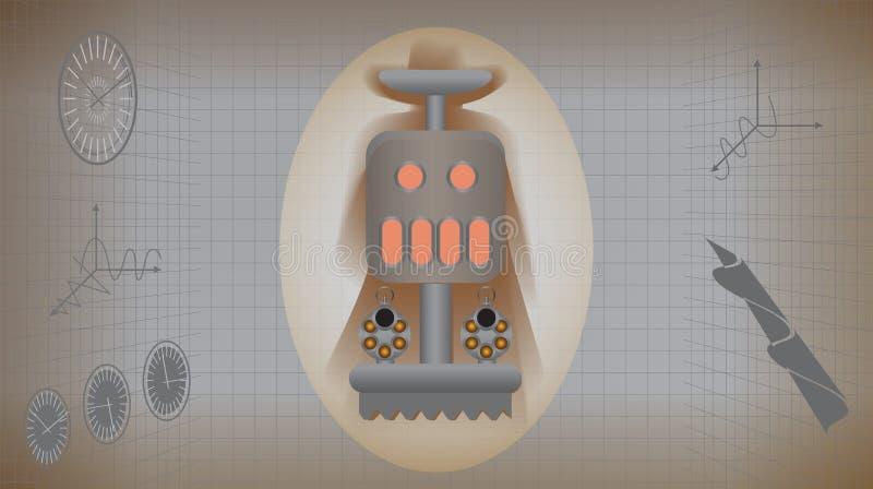 Mekaniskt retro monster med hingstföl i infographicsstil vektor illustrationer