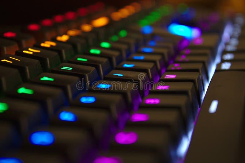 Mekaniskt tangentbord med lysdiodljus royaltyfri bild
