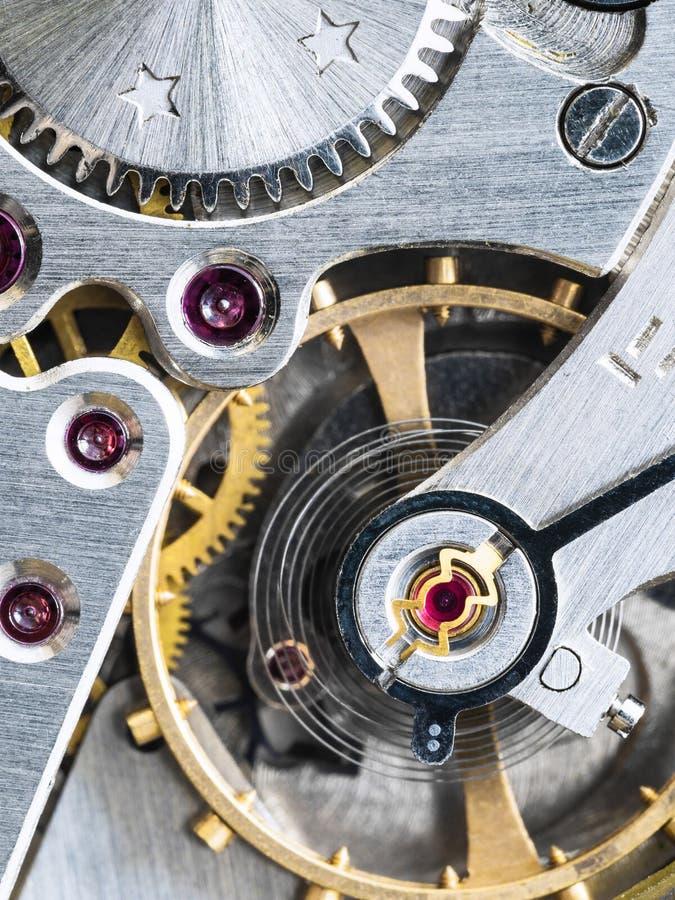 Mekanism av den gamla mekaniska klockan arkivfoto