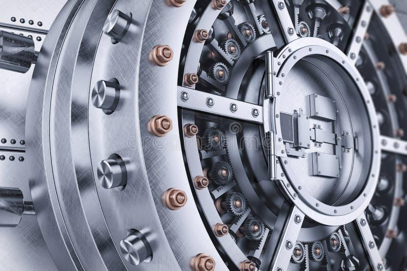 Mekanism för öppen dörr för valvbankkassaskåp vektor illustrationer