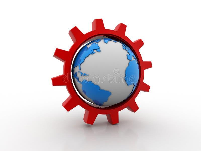 mekanism för kugghjul 3D med jord vektor illustrationer