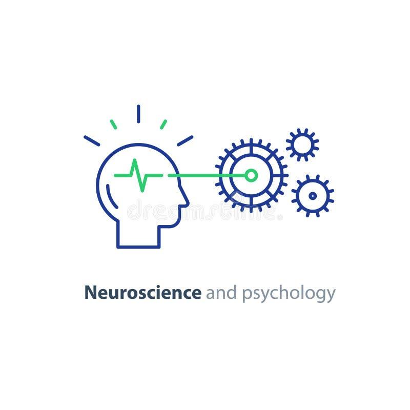 Mekanism för mänskligt huvud och för kugghjulhjul, hjärnstudie, symbol för konstgjord intelligens royaltyfri illustrationer