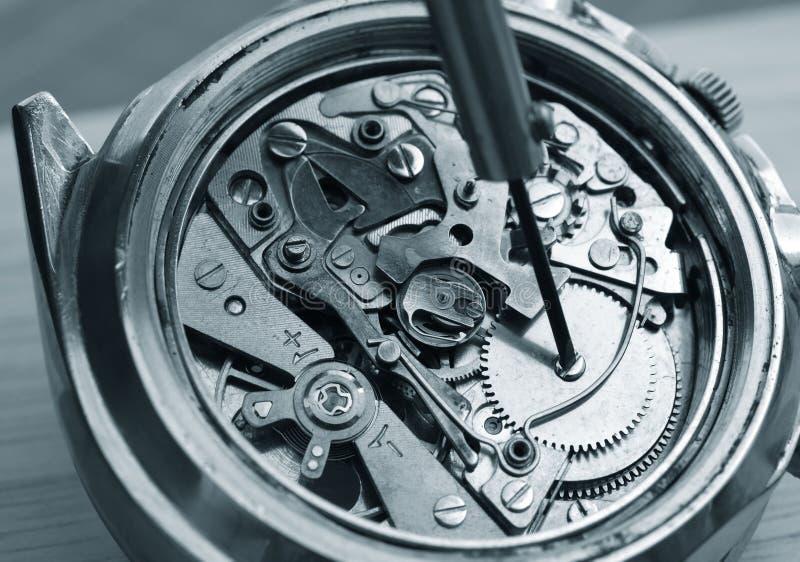 Mekanism för tappningchronographklocka royaltyfri foto