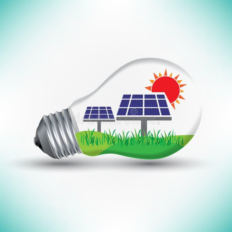 Mekanismarbete för sol- energi för lampidén, förnybara energikällor royaltyfri illustrationer