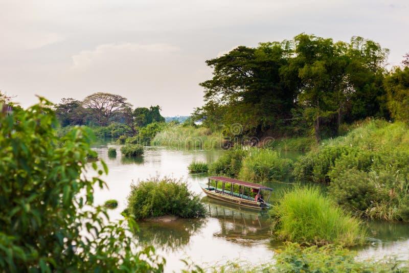 Mekhongrivier van Don Det stock afbeeldingen