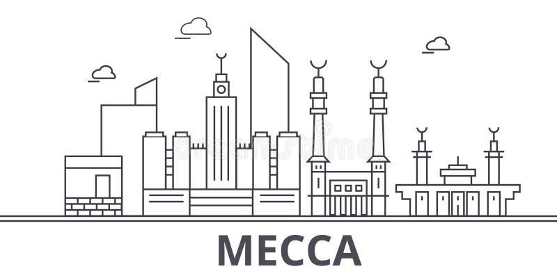Mekki architektury linii linii horyzontu ilustracja Liniowy wektorowy pejzaż miejski z sławnymi punktami zwrotnymi, miasto widoki ilustracja wektor