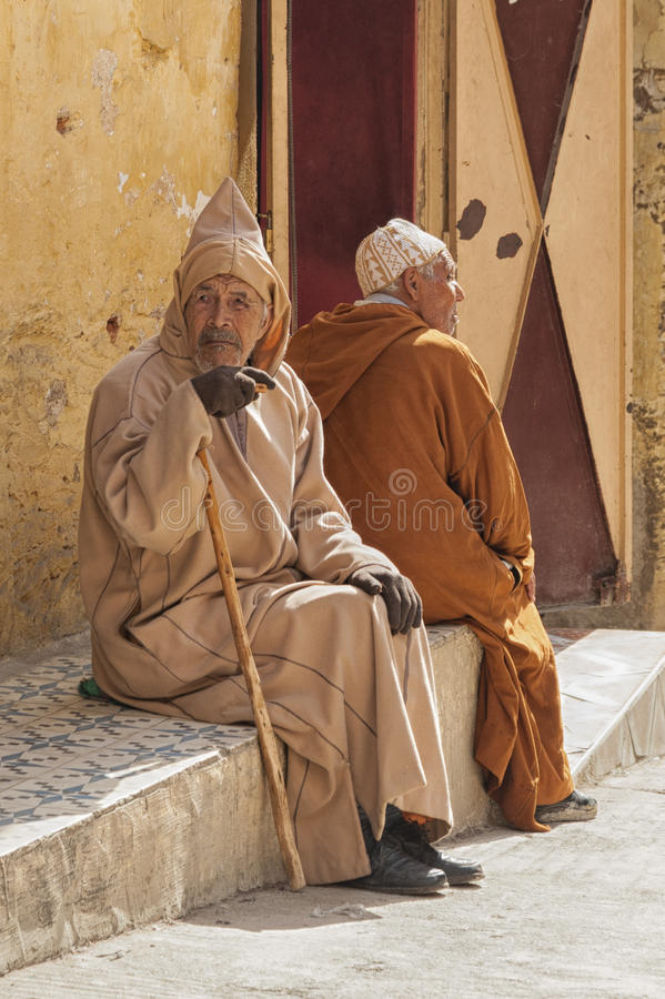 MEKNES, MOROCCO - FEBRUARY 18, 2017: Unidentified people in the street of Meknes, Morocco. Meknes is one of the four Imper. Ial cities of Morocco royalty free stock photography