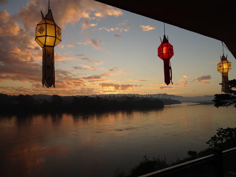 Mekong bij Zonsondergang stock afbeelding