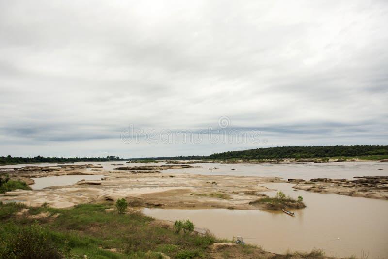 Mekong de rivier en Sam Pan Bok zijn genoemd geworden Grand Canyon van Thailand royalty-vrije stock foto's