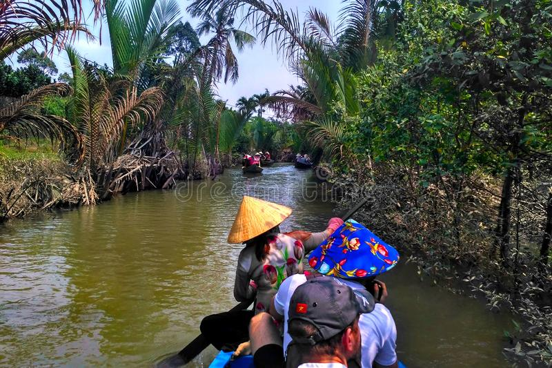 Mekong delty flisactwo w Wietnam obrazy royalty free