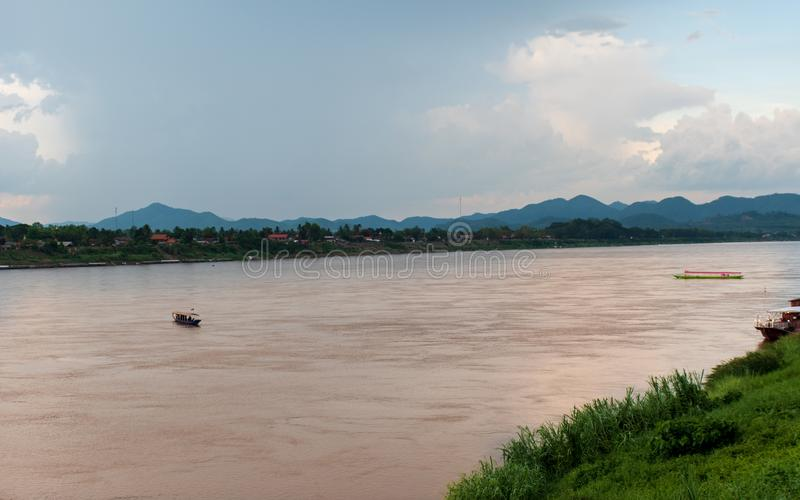 Mekong River. On a bright day At Chiang Khan district, Loei province and the waterway between Thailand and Laos stock photos