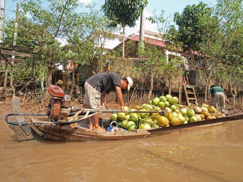 Download Mekong River, Coconut & Boat Editorial Image - Image: 18013585
