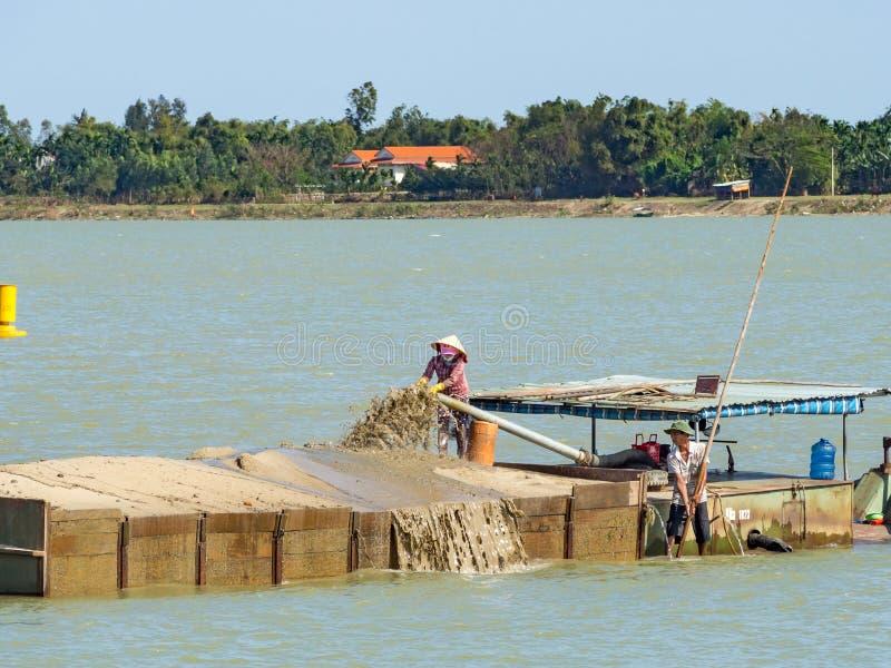 Mekong River delta i Vietnam: [Floddelta i inte bara bekant för dess jordbruk, fiskbransch men också för sand royaltyfri foto