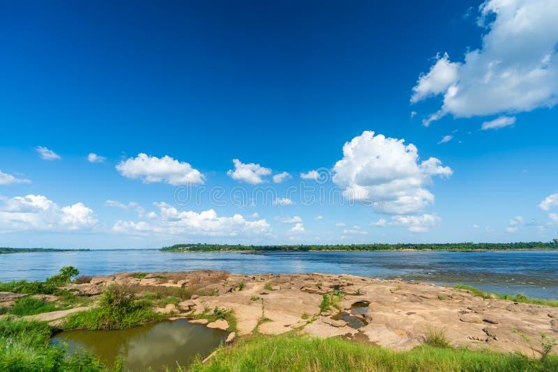 Mekong river at Keang Ka Bao, Mukdahan, Thailand. View of Mekong river at Keang Ka Bao, Mukdahan, Thailand royalty free stock photography