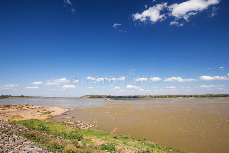 Mekong river at Keang Ka Bao, Mukdahan, Thailand. View of Mekong river at Keang Ka Bao, Mukdahan, Thailand stock photos