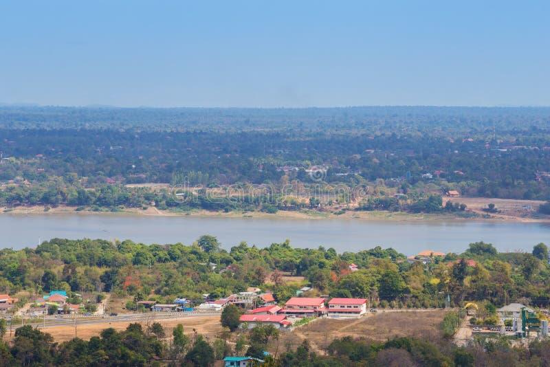 Mekong river at Mukdahan, Thailand. Top view of mekong river at Mukdahan, Thailand stock image