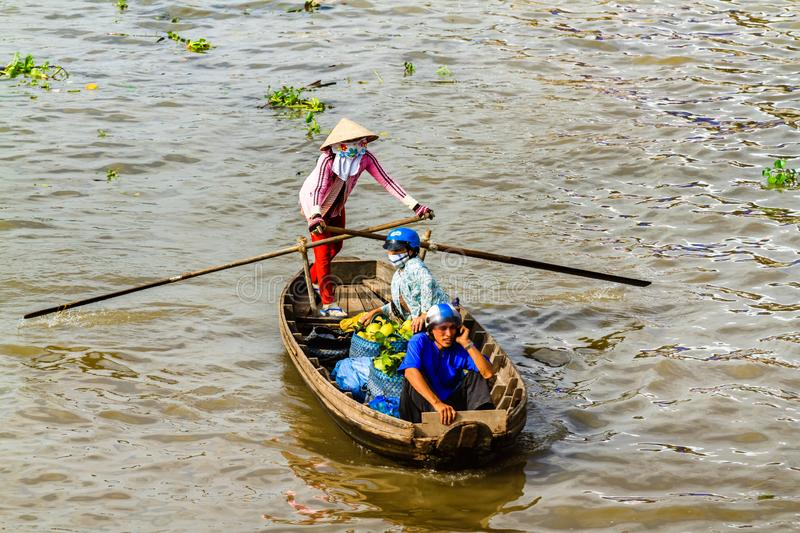 Small Boat Transporting People Go And Back To The Floating
