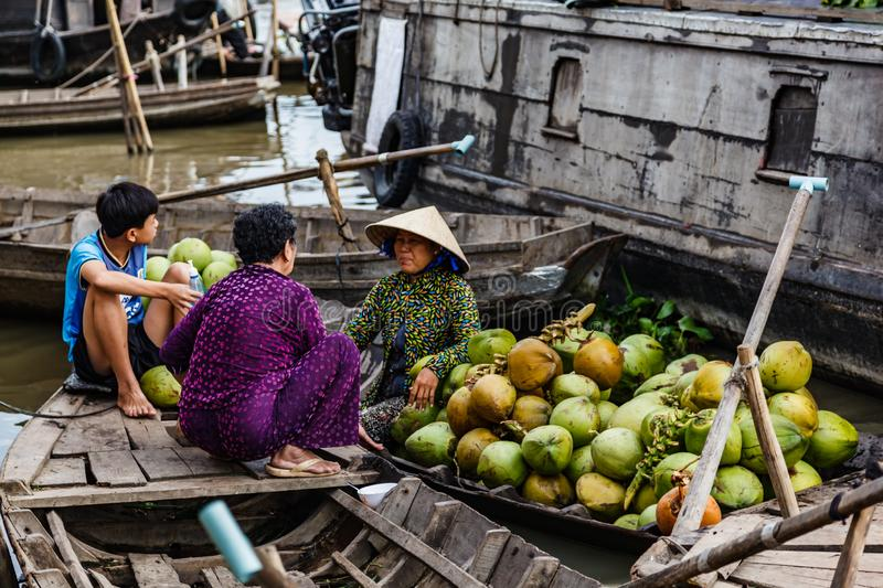 Floating market in Mekong River, Vietnam. Mekong River, South of Vietnam. Tam Ban, Sampan, small boat, a traditional popular transportation of the region. Small royalty free stock image