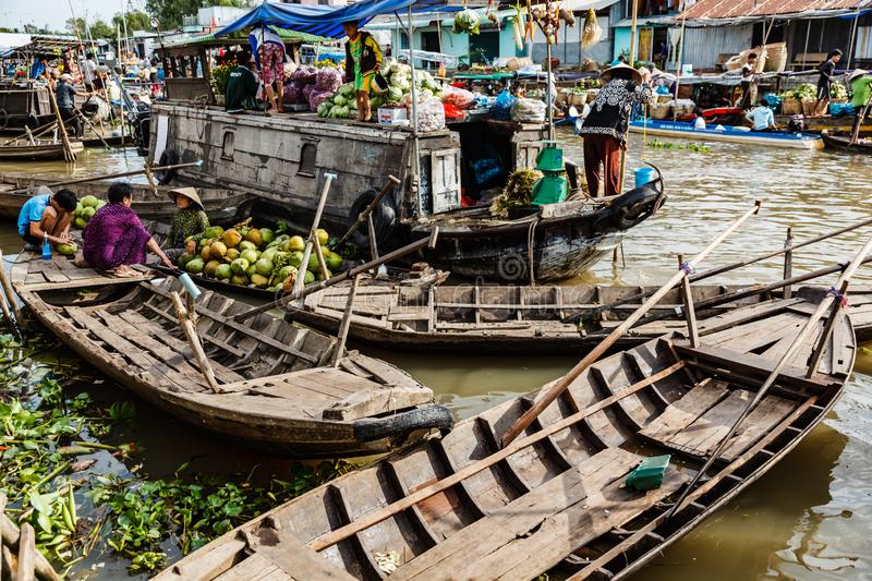 Floating market in Mekong River, Vietnam. Mekong River, South of Vietnam. Tam Ban, Sampan, small boat, a traditional popular transportation of the region. Small royalty free stock photos