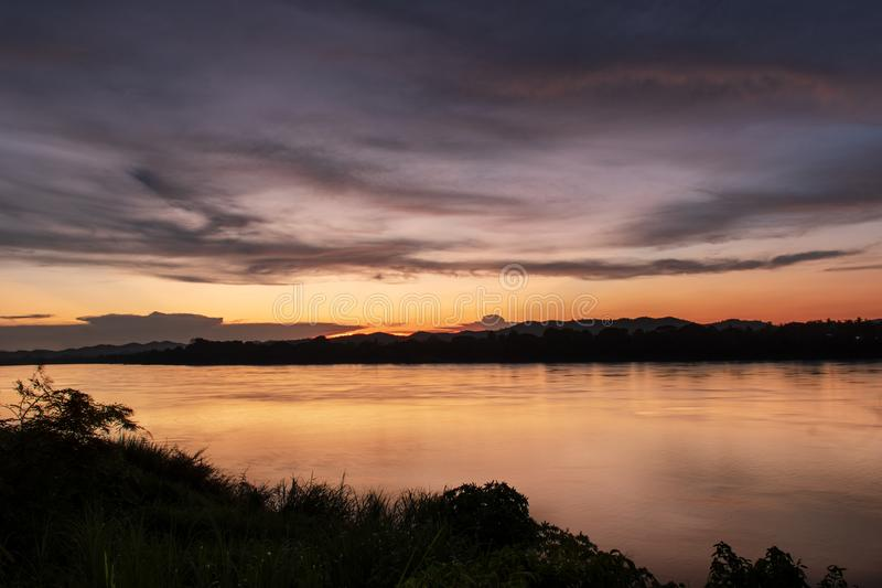 Mekong River. At sunset time in Laos. At Chiang Khan district, Loei province and the boundary between Thailand and Laos stock photo
