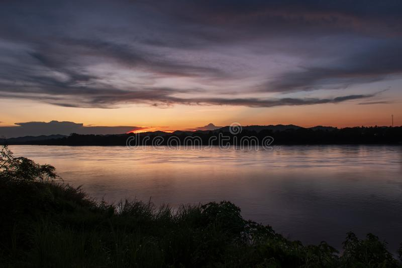 Mekong River. At sunset time in Laos. At Chiang Khan district, Loei province and the boundary between Thailand and Laos royalty free stock image