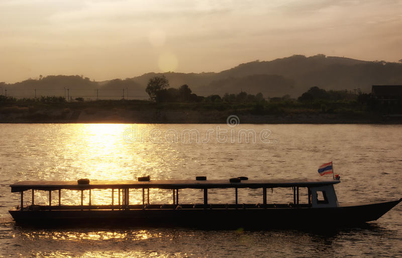 Mekong River Thailand boats stock photography