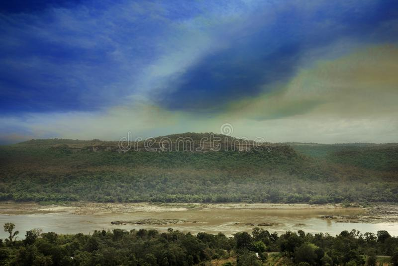 Mekong riviermening royalty-vrije stock foto