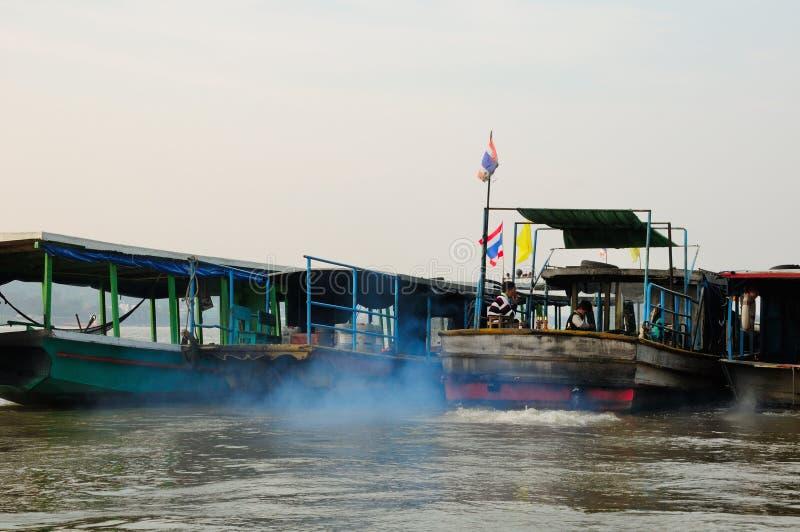 Mekong Rzeczne łodzie Tajlandia fotografia stock