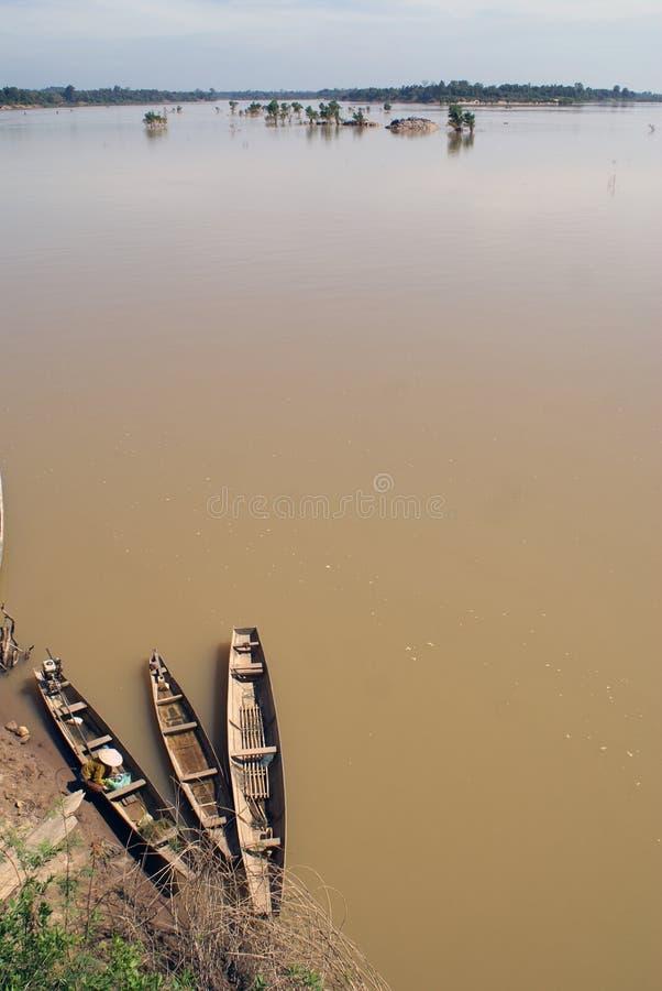 Mekong und Boote lizenzfreie stockfotos