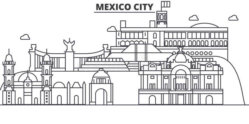 Meksyk architektury linii linii horyzontu ilustracja Liniowy wektorowy pejzaż miejski z sławnymi punktami zwrotnymi, miasto widok ilustracja wektor