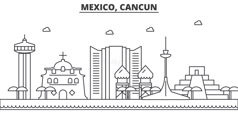 Meksyk, Cancun architektury linii linii horyzontu ilustracja Liniowy wektorowy pejzaż miejski z sławnymi punktami zwrotnymi, mias ilustracja wektor