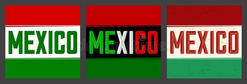 Meksyk chodnikowa Śmiałej wektorowej ilustracji ustalona kolekcja