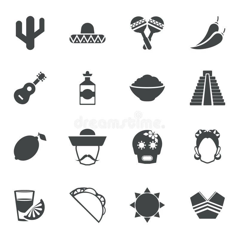 Meksyk czerni ikony ustawiać royalty ilustracja