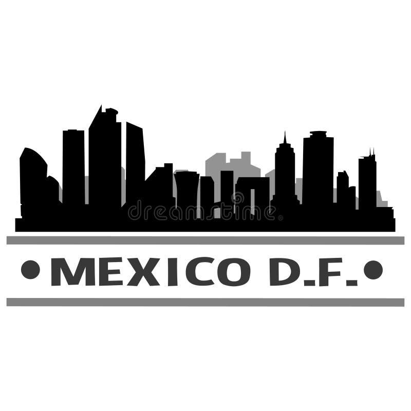 Meksyk DF linii horyzontu miasta ikony sztuki Wektorowy projekt royalty ilustracja