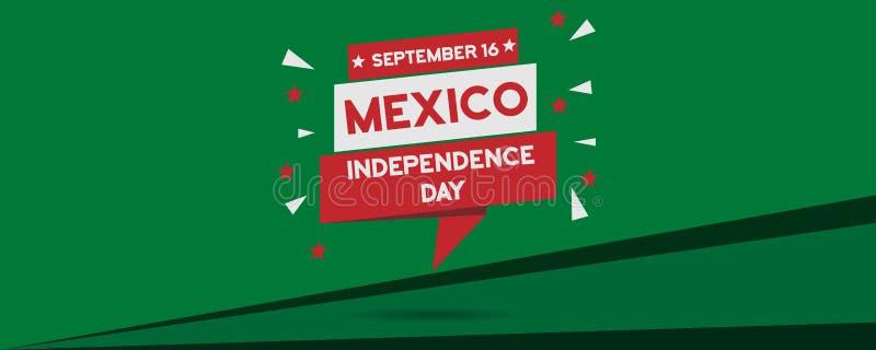 Meksyk dnia niepodległości świętowania panoramy krajowy sztandar ilustracja wektor