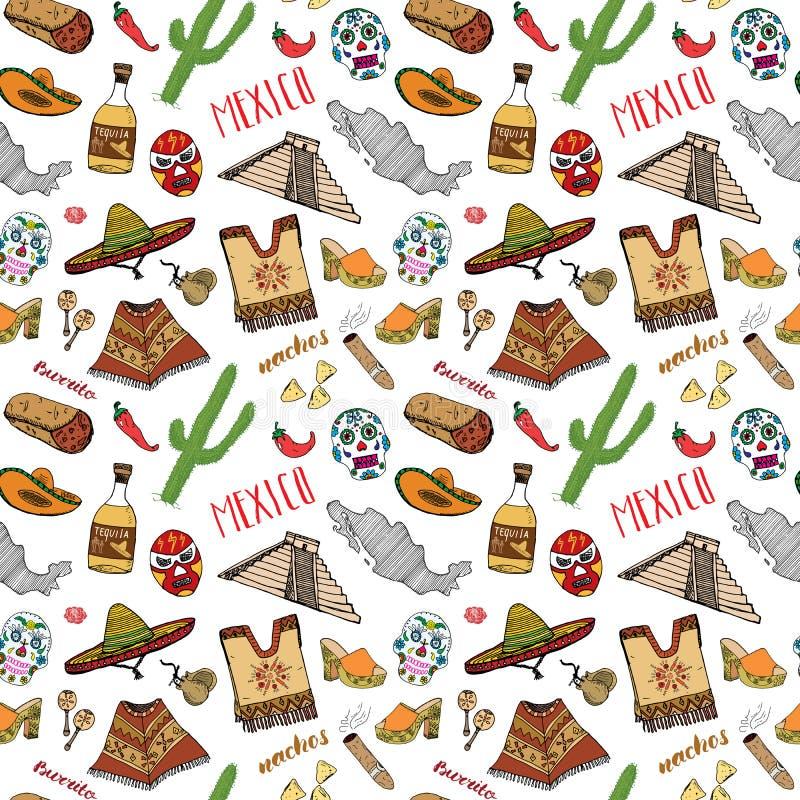 Meksyk doodle bezszwowi deseniowi elementy, larwa, ręka rysująca nakreślenie sombrero meksykańska tradycyjna kapeluszu, butów, po ilustracja wektor
