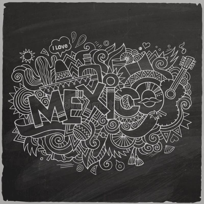 Meksyk doodles elementu chalkboard tło royalty ilustracja