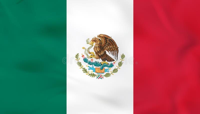 Meksyk falowania flaga Meksyk flagi państowowej tła tekstura ilustracji