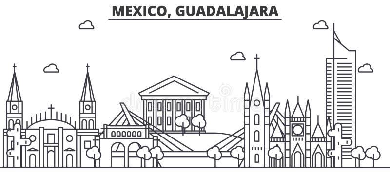 Meksyk, Guadalajara architektury linii linii horyzontu ilustracja Liniowy wektorowy pejzaż miejski z sławnymi punktami zwrotnymi, ilustracji
