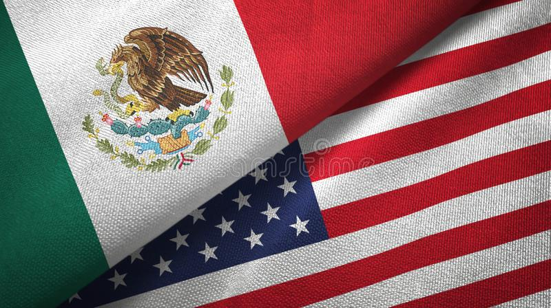 Meksyk i Stany Zjednoczone dwa flagi tekstylny płótno, tkaniny tekstura ilustracja wektor
