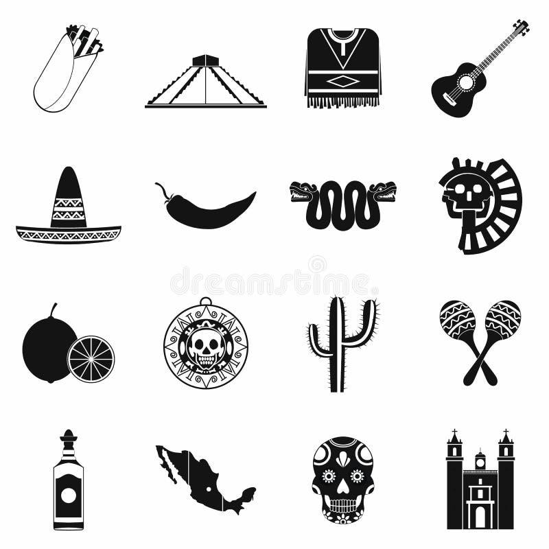 Meksyk ikon czerń royalty ilustracja