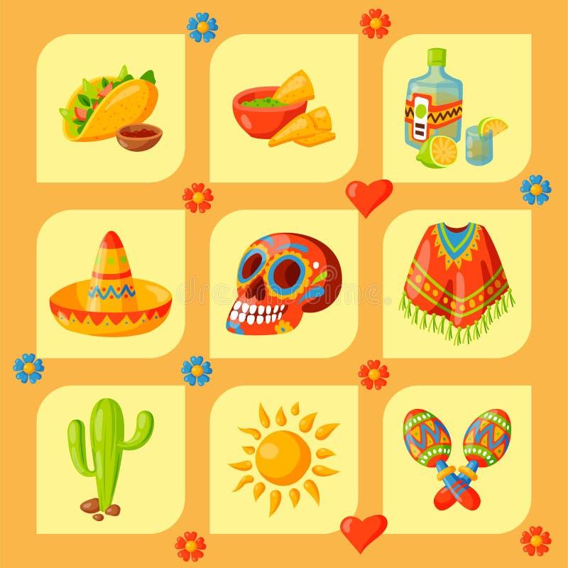 Meksyk ikon podróży tequila alkoholu fiesta napoju wektorowego ilustracyjnego tradycyjnego graficznego pochodzenia etnicznego mar ilustracja wektor