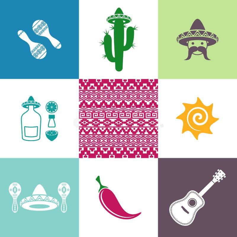 Meksyk ikony i znaki royalty ilustracja