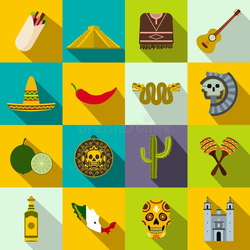 Meksyk ikony płaskie ilustracji