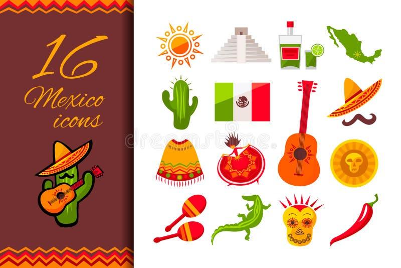 Meksyk ikony P?aski set royalty ilustracja