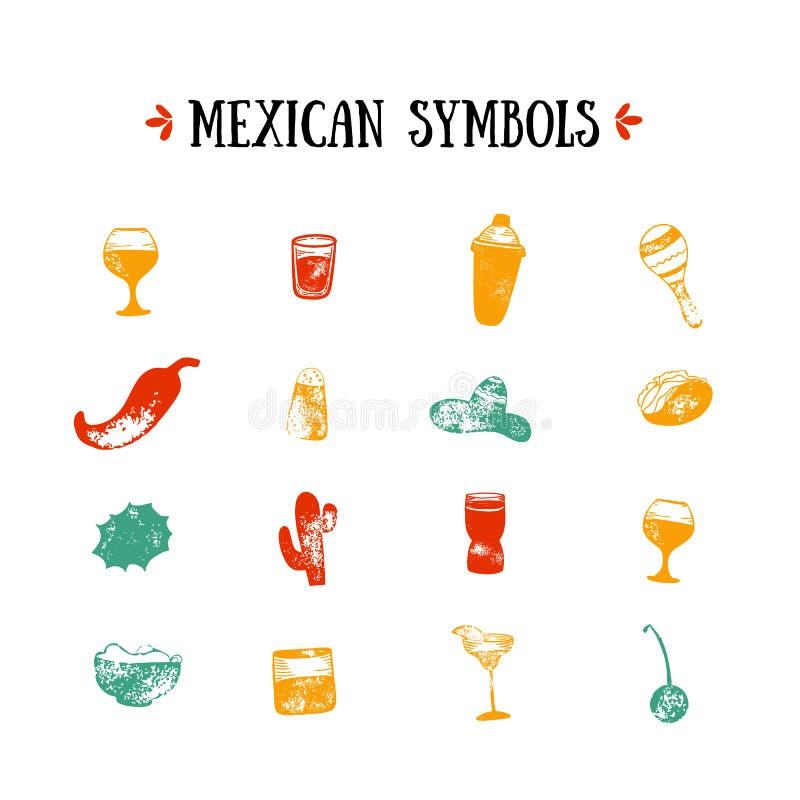 Meksyk ikony projekta ustalona ilustracja Karmowy Restauracyjny menu, szablonu projekt z nakreślenie ikonami Chili pieprz, sombre ilustracji