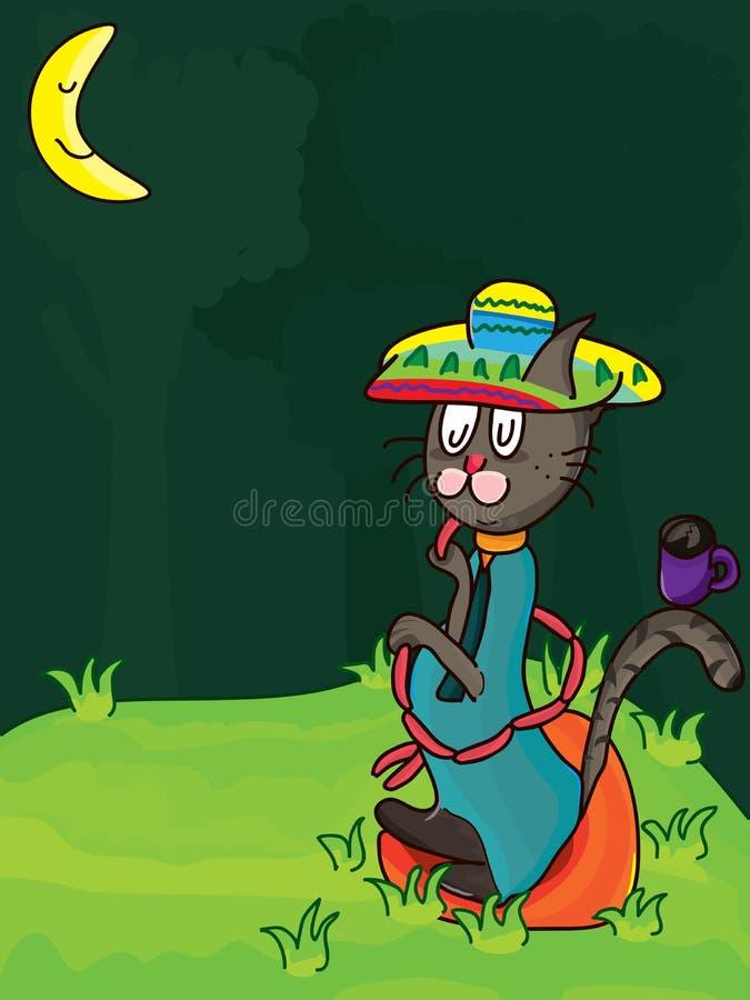 Meksyk kota Samotny jedzenie ilustracja wektor