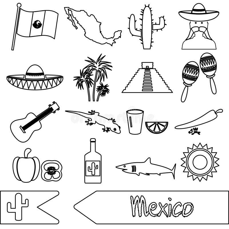 Meksyk kraju tematu symboli/lów konturu ikony ustawiać ilustracji